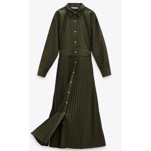 NEW Zara Pleated Midi Khaki Button Up Shirt Dress